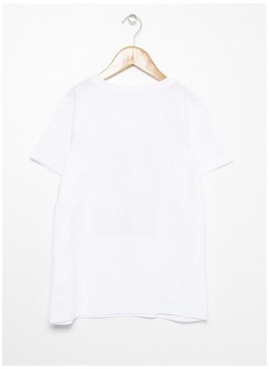 Limon Company Limon Beyaz Bisiklet Yaka Yazı Baskılı Erkek Çocuk T-Shirt Beyaz